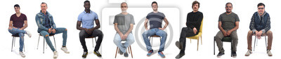 Image group of mixed man sitting on chair on white background