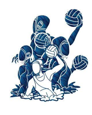 Image Group of water polo players  action cartoon graphic vector