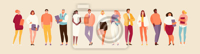 Image Group standing office of people of different nationalities and ages. Multiethnic company vector illustration