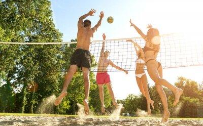 Image Groupe de jeunes amis jouant au volley sur la plage