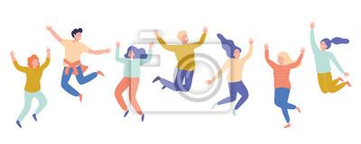 Image Groupe de jeunes gens qui rient heureux sautant avec les mains levées. Étudiants. Illustration de dessin animé plane vectorielle isolée sur fond blanc.