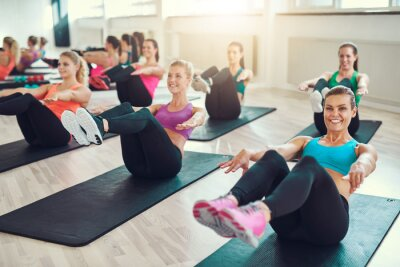 Image Groupe, jeune, Femmes, faire, exercice, abs