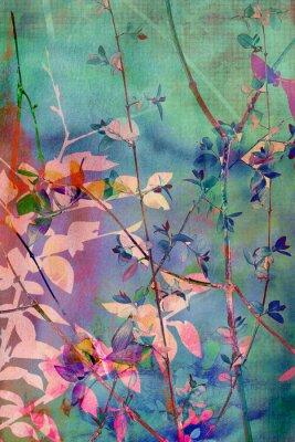 Image Grunge décoratif avec des feuilles naturelles