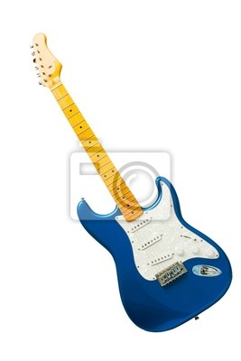 guitare bleue isolé