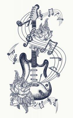 Guitare Tatouage Guitare Electrique Roses Et Notes Musicales