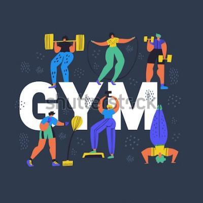 Image Gym, bannière de concept de club de remise en forme dessinés à la main. Petites personnes en personnages de dessins animés sportswear. Athlétisme, formation exercices illustration vectorielle de coule
