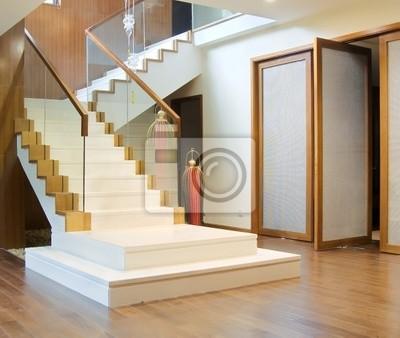 Hall dentrée avec escalier et la porte avant peintures murales ...