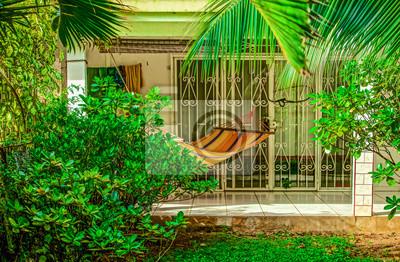 Hamac Sur Terrasse Sous Les Tropiques Peintures Murales Tableaux