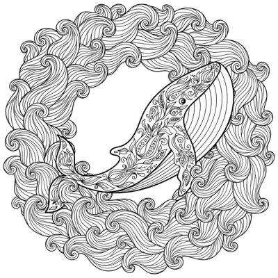 Image Hand drawn baleine dans les vagues pour antistress Coloring Page