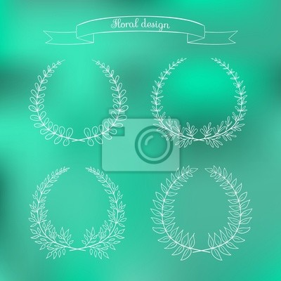 Hand drawn frame on a blured green vector background