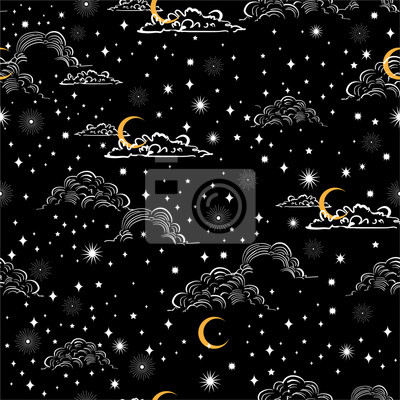 Hand drawn scratch style night sky with moon ,stars and cloud Space, Among stars seamless pattern vector ,Design for fashion , fabric, web, wallpaper,wrapping and all prints