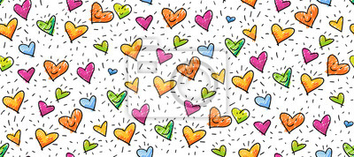 Image Hand-drawn seamless birthday or valentine pattern with cute little hearts for greeting cards, wrapping paper
