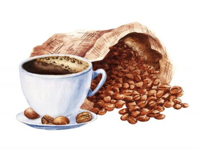 Image Hand drawn watercolor cup of black coffee with sack of beans isolated on white background. Food illustration.