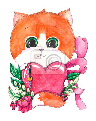 Hand drawn watercolor cute kitten with heart