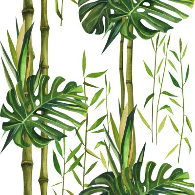 Image Hand drawn watercolor pattern with bamboo leaves. Seamless patterns