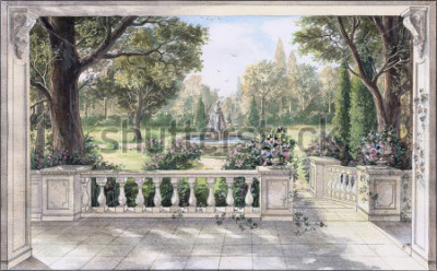 Image Hand drawn watercolor sketch with landscape and fountain. The view from the terrace on garden with trees, flowers and fountain. View from the balcony on the garden.