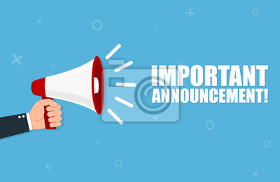 Image Hand holding megaphone with Important Announcement. Vector flat