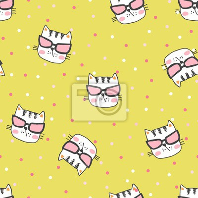 Hand painted seamless pattern with cute kittens. Watercolor bright cartoon cats on the background. Lovely texture.