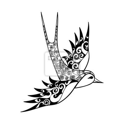 Image Handed Tribal Hirondelle Oiseau Totem Pour Adulte Coloriage