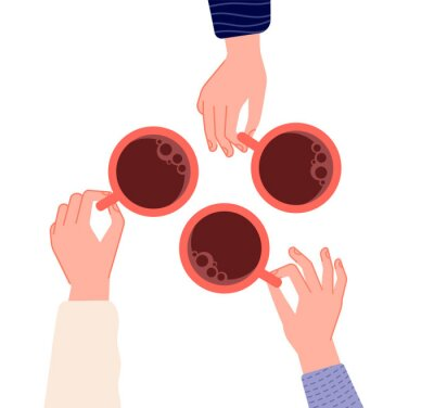 Image Hands holding cups. Coffee, tea in woman hand. Isolated mugs with hot drinks in cafe. Friends meeting or morning time vector illustration. Hot cup of coffee drink, hand with mug