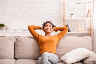 Image Happy Black Woman Relaxing Sitting On Sofa At Home