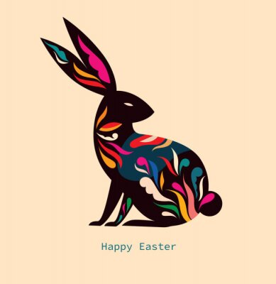 Happy easter greeting card with decorative easter bunny