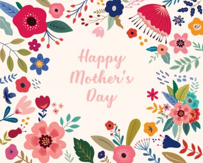 Happy Mothers Day greeting illustration with colorful spring flowers. Happy Mothers Day template