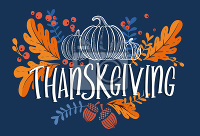 Image Happy thanksgiving day background with lettering and illustrations.