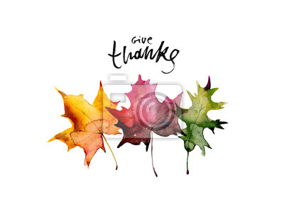 Image Happy thanksgiving text with watercolor autumn leaves and branches isolated on white background. Autumn illustration for greeting cards, invitations, blogs, posters, quote and decorations.