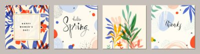 Image Happy Women's Day. Hello Spring. Trendy abstract square art templates. Suitable for social media posts, mobile apps, banners design and web/internet ads.