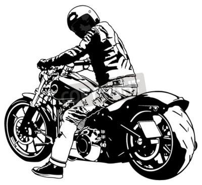 Image Harley Davidson et Rider - Illustration noir et blanc, vecteur
