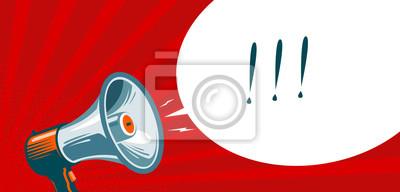 Image Haut-parleur, mégaphone, bullhorn. Publicité, bannière de promotion. Illustration vectorielle