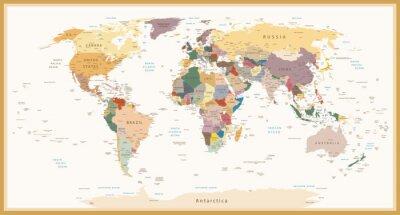Image Hautement détaillé, politique, mondiale, carte, vendange, Couleurs