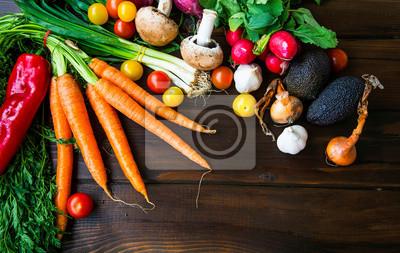 Healthy organic bio vegetables  with carrots, greens, onion, avocads, tomatoes, mushrooms, fresh green bio harvest