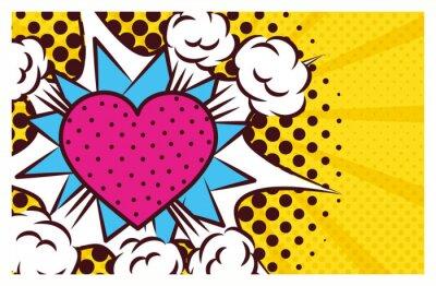 Image heart love pop art style