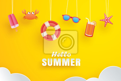 Image Hello summer with decoration origami hanging on yellow background. Paper art and craft style.