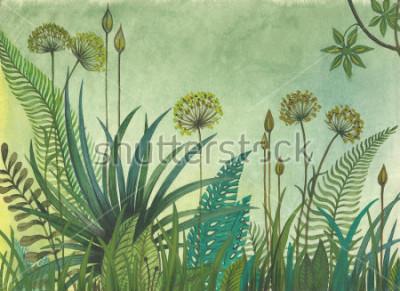 Image Herbe verte qui pousse dans la jungle. illustration peinte à l'aquarelle