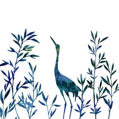 Image Héron, fourré, bambou, branches, feuilles