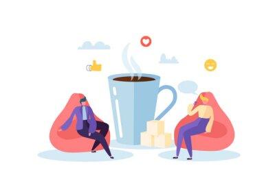 Image Heure du déjeuner au bureau. Personnages de gens d'affaires sur la pause café. Employés en train de parler, de se reposer et de boire des boissons chaudes. Illustration vectorielle
