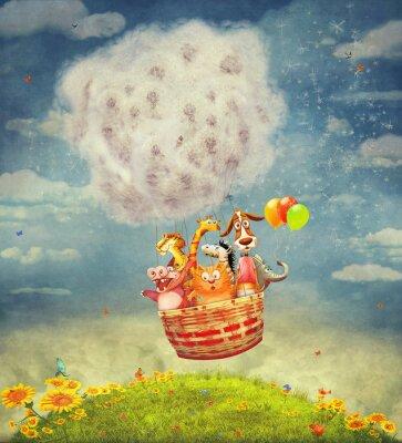 Image Heureux, animaux, air, balloon, ciel - illustration, art