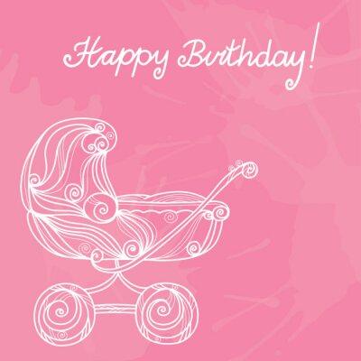 Heureux, anniversaire, rose, fond, bébé, poussette