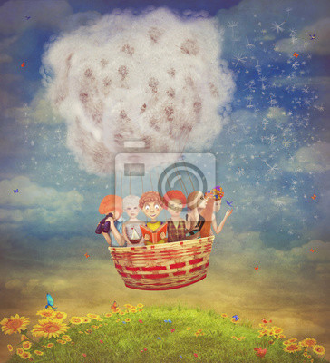 Heureux, enfants, air, balloon, ciel