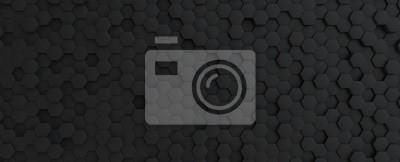 Image Hexagonal dark grey, black background texture, 3d illustration, 3d rendering