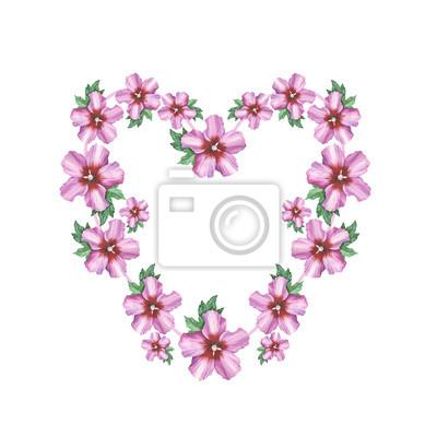 Hibiscus Rose Fond Coeur Guirlande Cadre Aquarelle Dessin