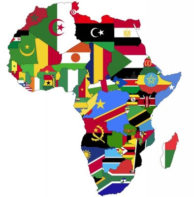 Image Highly Detailed Africa Map With Country Flags.