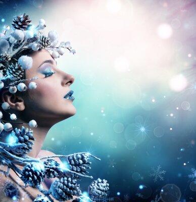 Image Hiver, femme, portrait, beauté, modèle, modèle, girl, neigeux, décoration