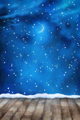 Image Hiver, nuit, peinture, fond