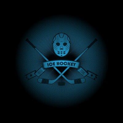 Image Hockey sur glace! Logo de sport. L'emblème apparaissant de l'obscurité. Perfectionnez sur votre chemise noire! vecteur