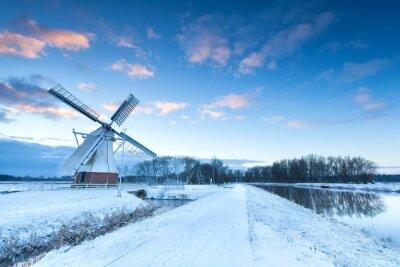 Image Hollandais, moulin à vent, neige, hiver