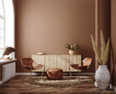 Image Home interior with ethnic boho decoration, living room in brown warm color, 3d render